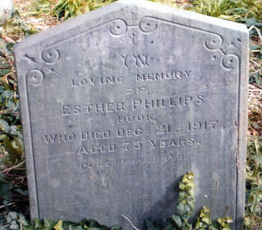 Esther's gravestone pictured in Mount Zion Chapel, Hook.